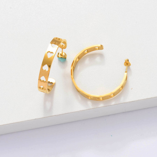 18k Gold Plated Cuff Heart Hoop Earrings -SSEGG143-33892