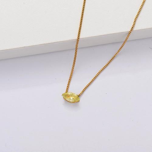 Collar Delicado Transparente De Circonitas Cúbicas Chapado En Oro 18k -SSNEG143-33860