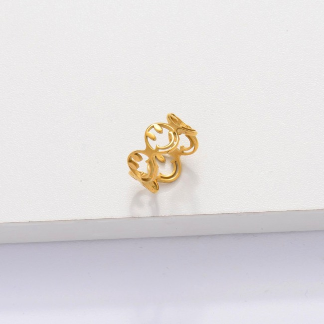 18k Gold Plated Smiley Ring for Women -SSRGG143-33899