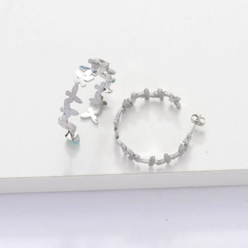 Stainless Steel Cuff Butterfly Hoop Earrings -SSEGG143-33895