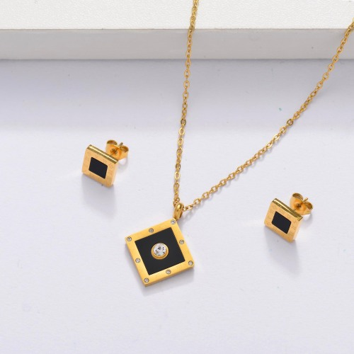 18k Gold Plated Black Onyx Square Jewelry Sets -SSCSG143-33878