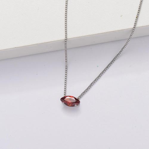 Collier minuscule transparent avec zircon cubique -SSNEG143-33853