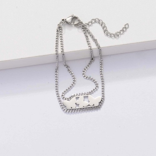 Pulseras Mariposa de Acero Inoxidable para Mujer -SSBTG143-33908