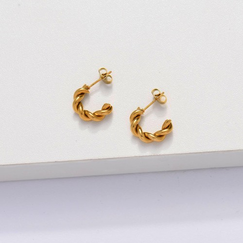 18k Gold Plated Braided C Cuff Earrings -SSEGG143-33884