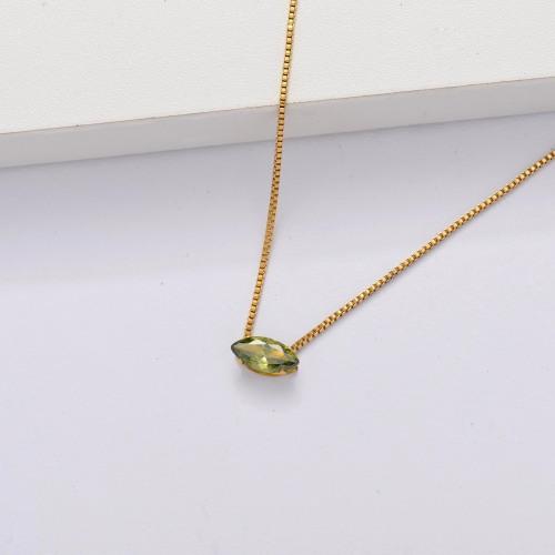 Collar Delicado Transparente De Circonitas Cúbicas Chapado En Oro 18k -SSNEG143-33859