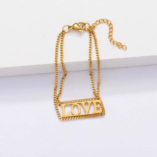 Pulseras de Amor para Mujer Chapadas en Oro de 18k -SSBTG143-33905