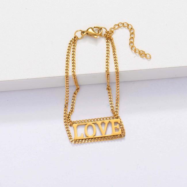 18k Gold Plated Love Bracelets for Women -SSBTG143-33905