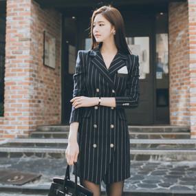 Autumn Fashion High Quality Office Women's Slim Stripe Long Suit