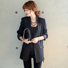 Korean Solid Long Style Black Women Jacket and Blazer Female Notched Collar Asymmetrical Chic Ladies Blazers feminino