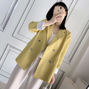 Stylish Double-breasted Oversized Women Blazer Casual Loose Female Suit Jacket Solid OL Style Women Suit Coat 2019 Autumn Winter