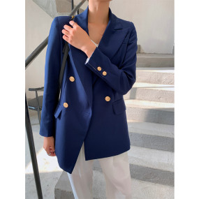 Elegant Double-breasted Women Blazers Casual Long Sleeve Spring Female Blazer Jackets Office Ladies Suit Jacket