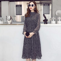 Elegant la soir chiffon Bohemian mid-length dresses for women with spring ruffled dresses for women with a-line prints