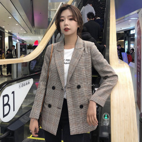 Casual Plaid Notched Collar Women Blazer Jacket Chic Double Breasted Full Sleeve Female Jackets Outerwear 2019 Elegant Workwear