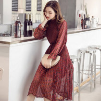 Plus Size Lace Up O-neck Print Chiffon Women Dress Flare Full Sleeve A-line Female Dress Ruched Mid-length Vestidos