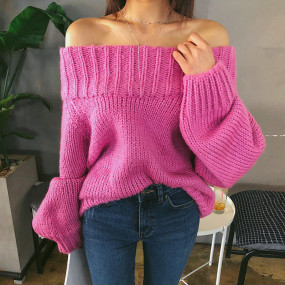 Fashion Slash-neck Full Sleeve Knitted Sweater Women Cold Shoulder Elastic Knitted Pullovers Femme 2018 Sexy Off-shoulder Jumper