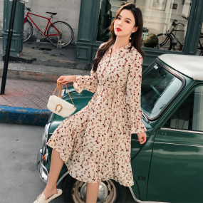 Vintage Flare Sleeve V-neck Floral Print Chiffon Dress Women Spring High Elastic Waist A-line Female Dress Vestidos 2020 Summer