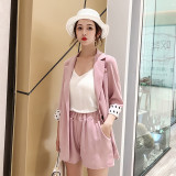 Summer Women Short Suits Dots Patchwork Sleeve Blazer Jacket & Elastic Waist Shorts Female 2 Pieces Set Pant suits Casual 2019