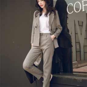 2020 Women 2 Two Piece Sets Short Gray Solid Blazer + High Waist Pant Office Lady Notched Jacket Pant Suits Korean Outfits Femme