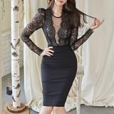 O-neck Lace Patchwork Women Dress Fashion Chic Long Sleeve Female Tight Dress Slim Fit Femme Vestidos OL Black Bodycon Dress