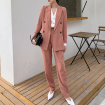 Fashion Solid Women Blazer Suits Long Sleeve Double breasted Blazer Pants Set 2020 Spring Office Two-piece Blazer Pant Suit