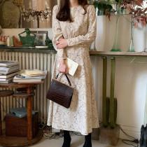 Autumn Elegant O-neck High Waist Women Dress Casual Floral Print Full Sleeve Female Dress Korean Style Long Vestidos Femme