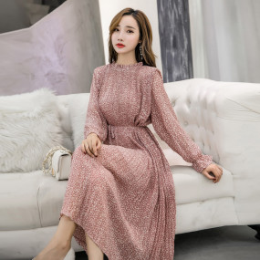 Sexy O-neck Mid-length Chiffon Floral Print Women Dress Full Sleeve Elastic Slim Waist Ruched Spring A-line Long Dress