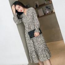 Elegant V-neck Print Chiffon Dress Women Flare Sleeve Ruffles Elastic Waist Mid-calf Length Female Dress 2019 Spring Vestidos