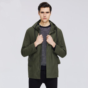 2020 Men's short windbreaker spring stylish trench coat with a hood high-quality men's brand clothing