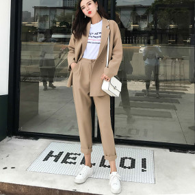 Autumn Casual Solid Women Pant Suits Notched Collar Blazer Jacket & Pant Khaki Female Suit 2 Pieces set high quality