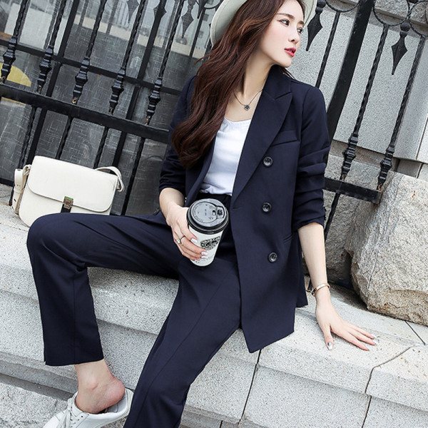 Autumn Women Pant Suits Double Breasted Notched Collar Jacket Blazer & Sashes Pant Casual Female Suits 2020 high quality