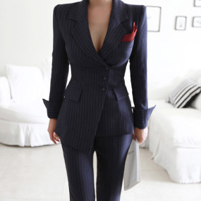Irregular Striped Women Pant Suits Single Breasted Blazer Jacket and Slim Pencil Pant 2 Pieces Set Female Suits High Quality