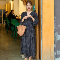 Autumn Vintage Loose Polka Dot Dress Women High Street Lantern Sleeve V-neck Ruffles Buttons Dress Female Vestidos Femme