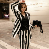 Striped double-breasted retro suit ladies blazer and slim pencil pants 2-piece set