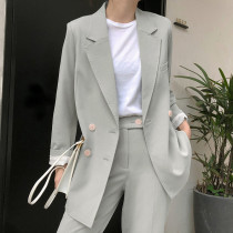 Elegant Light Green Women Pant Suits Double-breasted Blazer Jacket & High Waist Pants Vintage 2 Pieces-set OL Style Work Suits