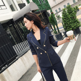 Double Breasted Dark Blue Striped Pant Suits for Women Blazer Jacket & Pencil Pants Set 2 Pieces Set OL Female Suit