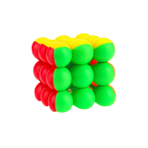 YJ8347 Flourescent Round Beads 3x3x3 Magic Cube - Colorful