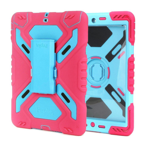 PEPKOO Spider Pattern Silicone Plastic Heavy Duty Rainproof Dust-proof Shockproof Case Cover with Kickstand and Sticker for Ipad 6 / Ipad Air 2 - Rosy + Lake Blue