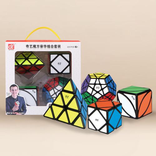 Qiyi Shaped Combination Suit Magic Cube for Brain Training - Black