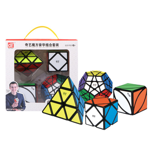 Qiyi Shaped Combination Suit Magic Cube for Brain Training - Black
