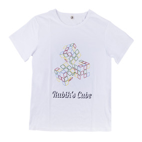 Summer Short Sleeve Clothes Magic Cube Printed Cotton T-shirt S Size