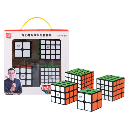 Qiyi Positive Order Combination Suit Magic Cube Set- Black
