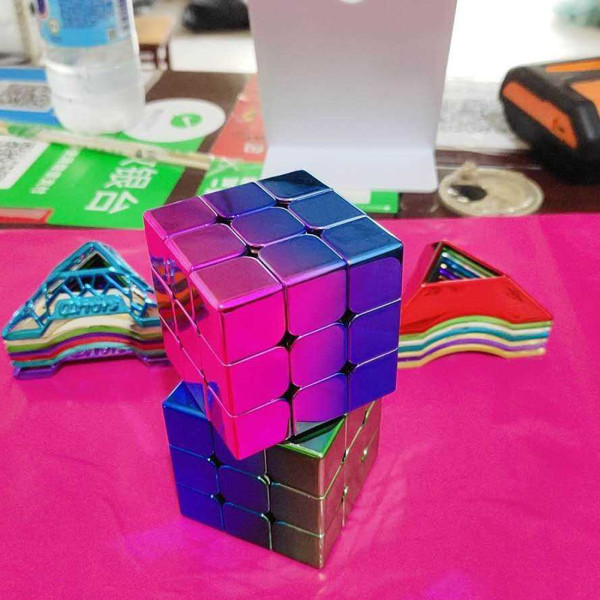 MoYu Meilong Plated Reflective 3x3 Magic Cube - Blue Pink Gradient