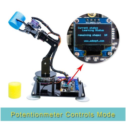 Adeept Arduino Compatible DIY 5-DOF Robotic Arm Kit Stem Robot Arm Kit for Arduino UNO R3