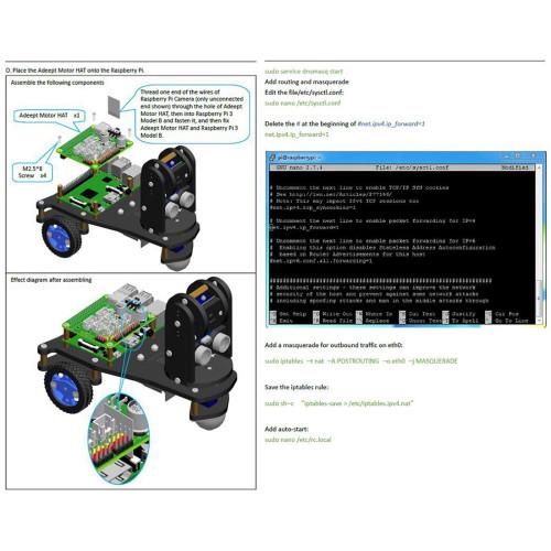 Adeept PiCar-A WiFi 3WD Smart Robot Car Kit Real-time Video Transmission Robot Car Stem Educational Robot for Raspberry Pi4/3 (No Development Board)