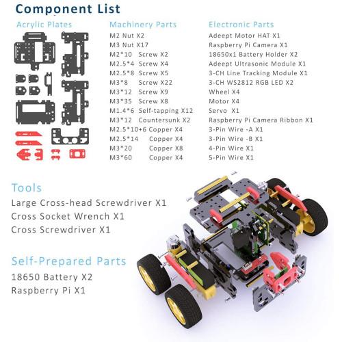 AWR 4WD WiFi Smart Robot Car Kit for Raspberry Pi4/3 Model B+/B