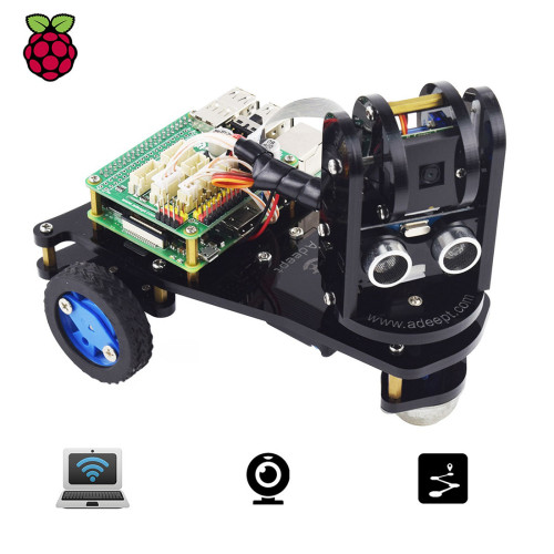 Adeept PiCar-A WiFi 3WD Smart Robot Car Kit Real-time Video Transmission Robot Car Stem Educational Robot for Raspberry Pi4/3 (No Development Board)