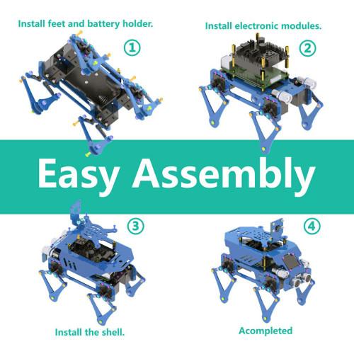 Aluminum Alloy Robot Dog Kit for Raspberry Pi4/3 Model B+/B