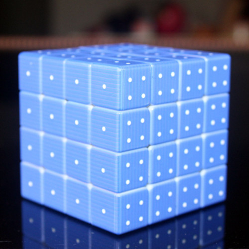 Blind Fingerprint 3D Embossed 4x4 Magic Cube - Blue