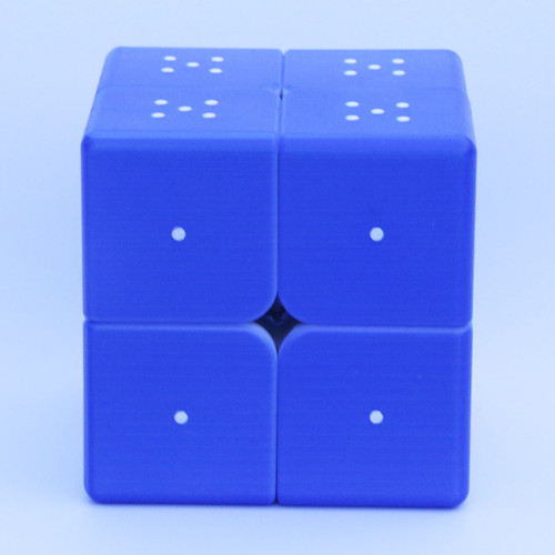 Blind Fingerprint 3D Embossed 2x2 Magic Cube - Blue
