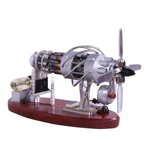 Custom 16-Cylinder Swash Plate Stirling Engine Model with Meter and LED